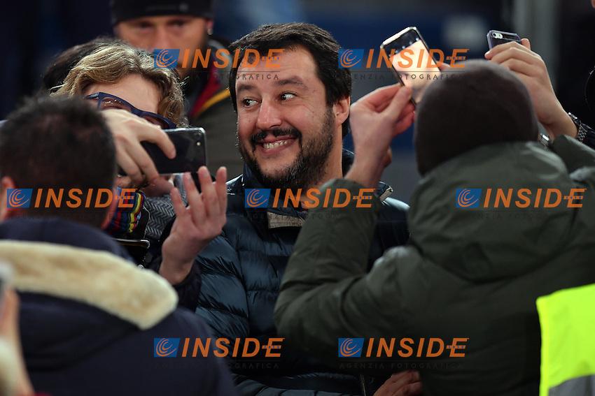 Matteo Salvini, parlamentare Lega Nord.<br /> Roma 12-12-2016  Stadio Olimpico<br /> Campionato Serie A, Derby<br /> AS Roma - Milan <br /> Foto Antonietta Baldassarre / Insidefoto