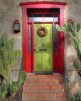 &quot;El Barrio&quot; neighborhood in Tucson, Arizona with row after row of charming and colorful adobe houses built in the 1800's - since restored. Holiday SW<br />