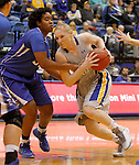 BROOKINGS, SD - NOVEMBER 18:  Mariah Clarin #40 from South Dakota State University is fouled while driving to the basket by Brianna Rollerson #50 from Creighton in the first half of their game Tuesday night at Frost Arena in Brookings. (Photo by Dave Eggen/Inertia)