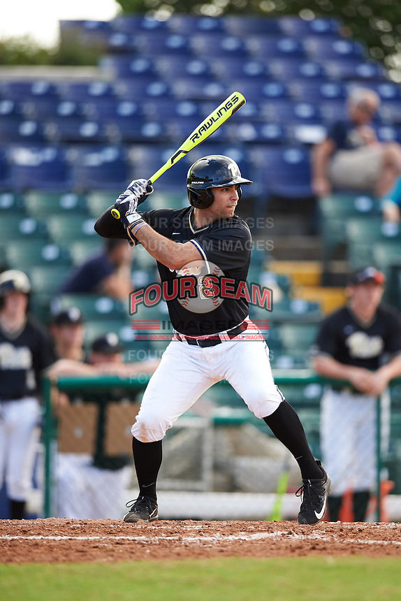 Pittsburgh Panthers third baseman P.J. DeMeo (2) at bat during a game against the Siena Saints on February 24, 2017 at Historic Dodgertown in Vero Beach, Florida.  Pittsburgh defeated Siena 8-2.  (Mike Janes/Four Seam Images)
