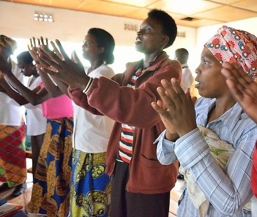 Community Health Workers receiving training and taking an exam at Rhunda Health Center in eastern Rwanda.