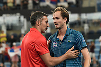 11th January 2020; Sydney Olympic Park Tennis Centre, Sydney, New South Wales, Australia; ATP Cup Australia, Sydney, Day 9; Serbia versus Russia;  Novak Djokovic versus Daniil Medvedev; Serbia ATP Cup captain Nenad Zimonjic with Daniil Medvedev of Russia after he loses to Novak Djokovic of Serbia - Editorial Use