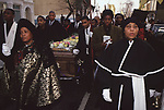 Mount Zion Spiritual Baptist church North London UK. Bishop Noel's funeral, procession through the streets to the cemetery. 1990s UK