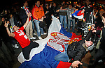 Serbian  supporters celebrate victory of their team in Davis Cup finals, Serbia vs France in Belgrade Arena in Belgrade, Serbia, Sunday, 5. December 2010. (credit & photo: Pedja Milosavljevic/SIPA PRESS)