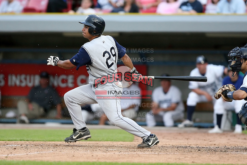 June 15 2008:  Outfielder Robert - Rob - Perry (29) of the Fort Wayne Wizards, Class-A affiliate of the San Diego Padres, during a game at Fifth Third Field in Comstock Park, MI.  Photo by:  Mike Janes/Four Seam Images