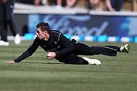 New Zealand's Mitchell Santner in the field. New Zealand Blackcaps v England. One Day International Cricket. Seddon Park, Hamilton, New Zealand on Sunday 25 February 2018.<br /> <br /> Copyright photo: &copy; Bruce Lim / www.photosport.nz