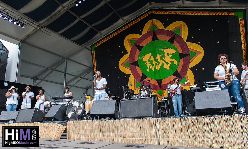 Burnell Taylor performs at the 2014 Jazz and Heritage Festival in New Orleans, LA.