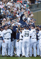 04 October 2009: Seattle Mariners designated hitter Ken Griffey Jr gets carried off the field by teammates after the game against Texas. Seattle won 4-3 over the Texas Rangers at Safeco Field in Seattle, Washington.