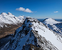 Summit of Volandstind with spring snow, Flakstadøy, Lofoten Islands, Norway