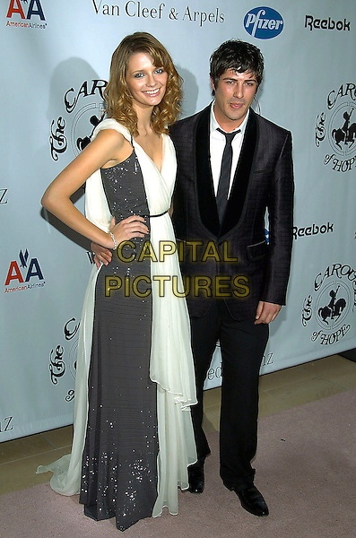 MISCHA BARTON & BRANDON DAVIS.16th Annual Carousel Of Hope Gala Presented By Mercedes-Benz held at Beverly Hills Hotel, Beverly Hills, California, USA, 23rd October 2004 ..full length black and white draped grecian dress sparkly long flowing couple boyfriend girlfriend.**UK SALES ONLY**.Ref:ADM.www.capitalpictures.com.sales@capitalpictures.com.©Capital Pictures.