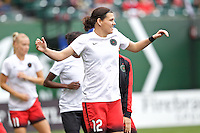 Portland, Oregon - Sunday May 29, 2016: Portland Thorns FC forward Christine Sinclair (12). The Portland Thorns play the Seattle Reign during a regular season NWSL match at Providence Park.