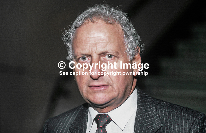 Irvine Patnick, MP, Conservative Party, UK, 19871016IP.<br /> <br /> Copyright Image from Victor Patterson,<br /> 54 Dorchester Park, <br /> Belfast, UK, BT9 <br /> <br /> t1: +44 28 9066 1296 (from Rep of Ireland 048 90661296)<br /> t2: +44 28 9002 2446 (from Rep of Ireland 048 9002 2446)<br /> <br /> m: +44 7802 353836<br /> <br /> e: victorpatterson@me.com<br /> www.victorpatterson.com<br /> <br /> Please see my Terms and Conditions of Use at www.victorpatterson.com. It is IMPORTANT that you familiarise yourself with them.<br /> <br /> Images used on the Internet must be visibly watermarked i.e. &copy; Victor Patterson<br /> within the body of the image and copyright metadata must not be deleted. Images <br /> used on the Internet have a size restriction of 4kbs and will be chargeable at current<br />  NUJ rates unless agreed otherwise.<br /> <br /> This image is only available for the use of the download recipient i.e. television station, newspaper, magazine, book publisher, etc, and must not be passed on to any third <br /> party. It is also downloaded on condition that each and every usage is notified within 7 days to victorpatterson@me.com<br /> <br /> The right of Victor Patterson to be identified as the author is asserted in accordance with The Copyright Designs And Patents Act (1988). All moral rights are asserted.