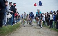 Paris-Roubaix 2012 ..Guillaume Van Keirsbulck cornering first