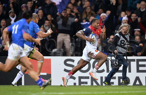 12.11.2016. Stadium Toulouse, Toulouse, France. Autumn International rugby match, France versus Samoa.  Virimi Vakatawa (fra) open field running on his way to scoring his try