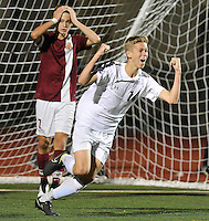 Yorba Linda's Cole Taylor celebrates his game winning goal against Esperanza on Friday night.