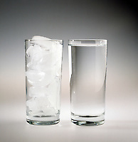 ICE CUBES &amp; WATER IN SEPARATE GLASSES<br /> Entropy/Enthalpy Series<br /> Melting ice is favored by entropy but disfavored by enthalpy. The freezing of water is favored by enthalpy but disfavored by entropy. The entropy &amp; enthalpy terms for both processes balance each other at 0 deg C.