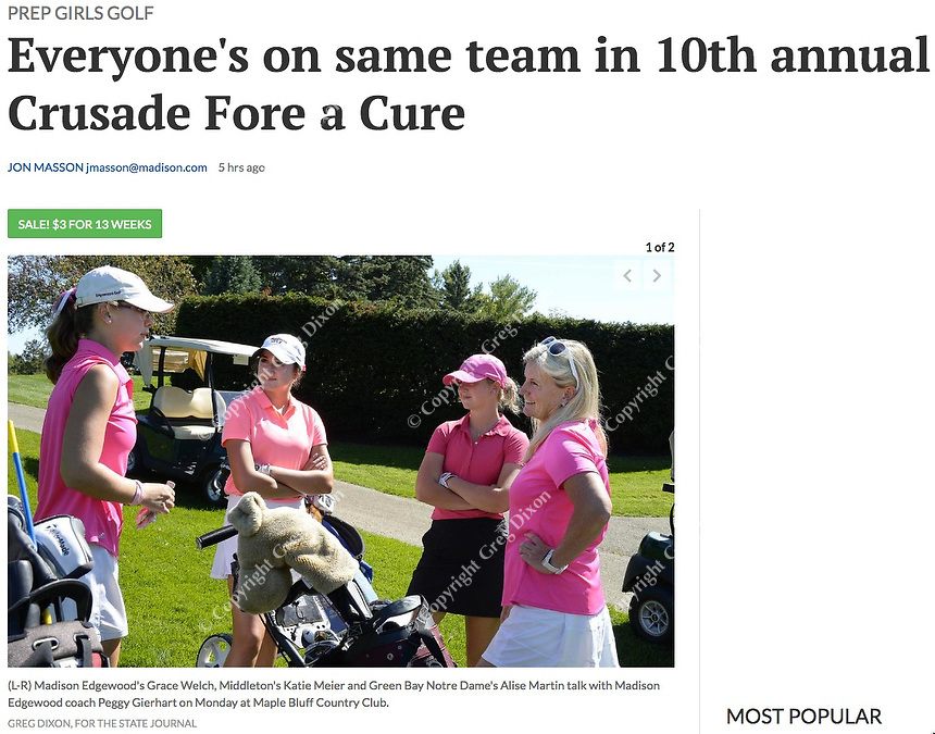 Edgewood head coach Peggy Gierhart (right) talks to golfers Grace Welch (Madison Edgewood, left), Kate Meier (Middleton, middle-left) and Alise Martin (Green Bay Notre Dame, middle-right) during Crusade for a Cure Wisconsin girls high school golf on Monday, 9/16/19, at Maple Bluff Country Club | Wisconsin State Journal article front page C1 Sports 9/17/19 and online at https://madison.com/wsj/sports/high-school/golf/everyone-s-on-same-team-in-th-annual-crusade-fore/article_539a3402-9287-547e-942b-7ff16fab2801.html