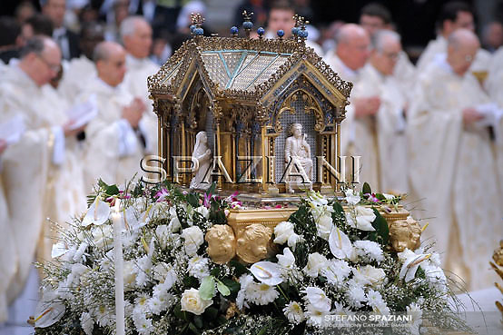 The reliquary of St Bernadette Soubirous is displayed during a mass led by Pope benedict XVI (not pictured) for the Feast of Our Lady of Lourdes and the XVIII World Day of the Sick on February 11, 2010 at St Peter's basilica at The Vatican.