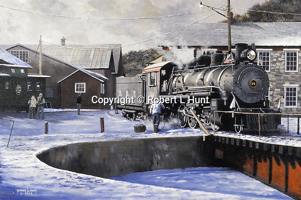 "At the end of the workday, the fireman empties the ashes from a 1910 Baldwin steam locomotive before going onto the East Broad Top Railroad turntable and into the roundhouse for the night at Orbisonia, PA. Oil on canvas, 18"" x 27""."
