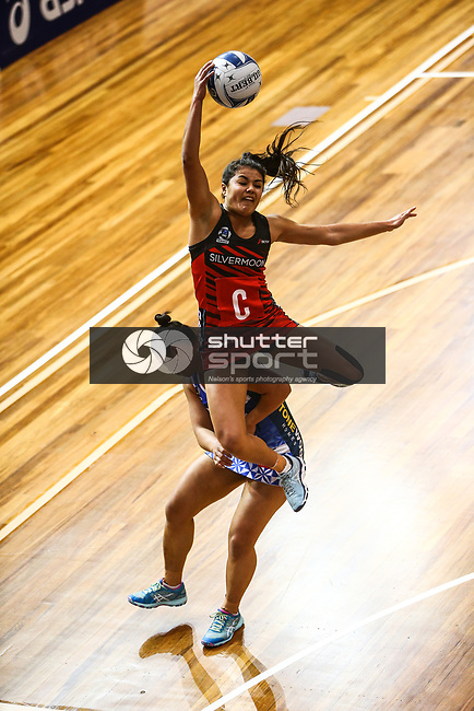 NELSON, NEW ZEALAND -Kimiora Poi of the Tactix in action. JULY 1: ANZ Pemiership Tactix v Mystics Trafalgar Center on July 12018 in Nelson, New Zealand. (Photo by: Evan Barnes Shuttersport Limited)