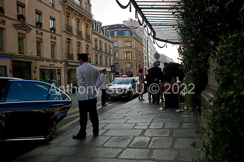 Paris, France<br /> August 12, 2011<br /> <br /> Streets of Paris in mid-August. Le Bristol Hotel neat the &Eacute;lyse&eacute; Palace.