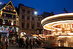 Christmas Fair at Dusk in the Old Market Square of Rouen, Normandy, France