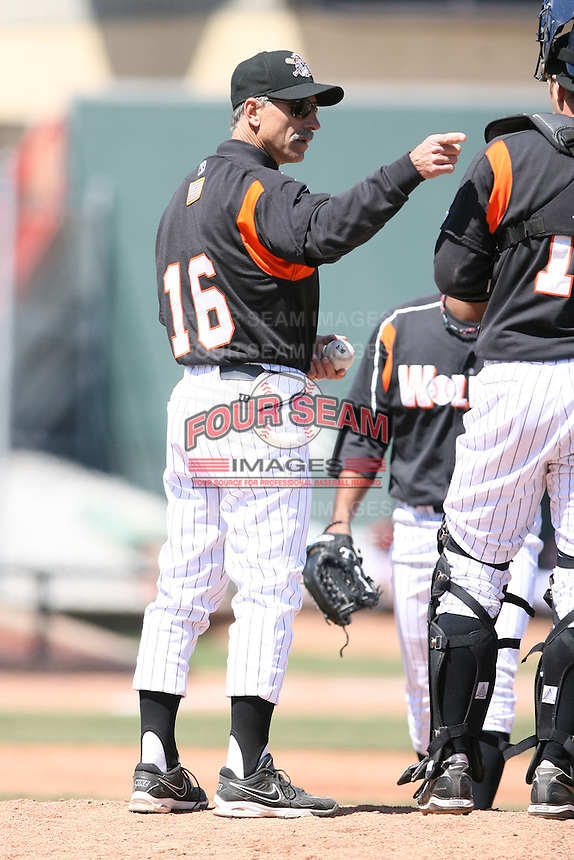 April 15th 2008:  Manager Tom Brookens (16) of the Erie Seawolves, Class-AA affiliate of the Detroit Tigers, during a game at Jerry Uht Park in Erie, PA.  Photo by:  Mike Janes/Four Seam Images