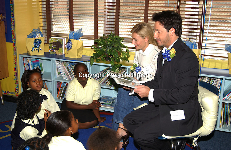 ..Beth Ehlers and Ricky Paull Goldin, both of Guiding Light..at Mahalia Jackson PS 123 School in Manhattan ..for the dedication of their new library donated by  ..Winston & Strawn Law firm  on October 8, 2003 . ..Photo by Robin Platzer, Twin Images
