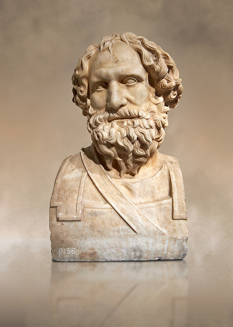 Roman marble sculpture of Archemedes III from the rectangular peristyle of the Villa of the Papyri in Herculaneum, Naples Museum of Archaeology, Italy