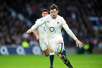 Elliot Daly of England puts boot to ball. Old Mutual Wealth Series International match between England and South Africa on November 12, 2016 at Twickenham Stadium in London, England. Photo by: Patrick Khachfe / Onside Images