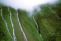 Waterfalls from Waialeale, Wailua River headwaters, east Kauai.