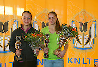 Rotterdam, The Netherlands, 07.03.2014. NOJK ,National Indoor Juniors Championships of 2014, 12and 16 years, Winner girls 16 years Isolde de Jong (NED) and runner up Liza Lebedzeva (NED (R)<br /> Photo:Tennisimages/Henk Koster