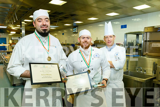 2 apprenticeship students from IT Tralee, Culinary arts and tourism both won Gold medals and Best in Class trophies in the Food&Bev live 2020 Chef Ireland Competitions held last Wednesday Feb 5th at the City West hotel, Dublin, in the '3 course mystery basket' category, pictured last Monday at  IT Tralee are L-R Karl Noctor and Craig Lynch both Tralee with Dan Browne, Lecturer in Culinary Arts, IT Tralee.