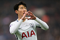 Tottenham Hotspur's Son Heung-Min celebrates scoring the opening goal <br /> <br /> Photographer Craig Mercer/CameraSport<br /> <br /> The Premier League - Tottenham Hotspur v Huddersfield Town - Saturday 3rd March 2018 - Wembley Stadium - London<br /> <br /> World Copyright &copy; 2018 CameraSport. All rights reserved. 43 Linden Ave. Countesthorpe. Leicester. England. LE8 5PG - Tel: +44 (0) 116 277 4147 - admin@camerasport.com - www.camerasport.com