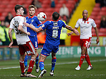 Ben Whiteman of Sheffield Utd flicks the ball past Mike Jones of Oldham Athletic during the Sky Bet League One match at The Bramall Lane Stadium.  Photo credit should read: Simon Bellis/Sportimage