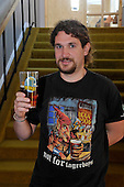 Ayrshire Rael Ale festival - at Troon Concert Hall - not for lagerboys t-shirt - Shaw Monaghan (who helps with and attends a number of ale festivals) – picture by Donald MacLeod – 07.10.11 – clanmacleod@btinternet.com 07702 319 738 donald-macleod.com