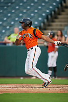 Bowie Baysox first baseman Aderlin Rodriguez (44) follows through on a swing during the first game of a doubleheader against the Trenton Thunder on June 13, 2018 at Prince George's Stadium in Bowie, Maryland.  Trenton defeated Bowie 4-3.  (Mike Janes/Four Seam Images)