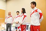 (L-R)  Koji Ueno,  Norimasa Hirai Coach, Aya Terakawa, Takeshi Matsuda, APRIL 21, 2013 : The Building up Team Japan 2013 for Sochi at Ajinomoto NTC, Tokyo, Japan. (Photo by AFLO SPORT)