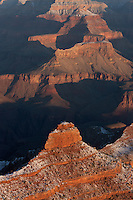 Late afternoon view from Yaki Point casting shadows into the Grand Canyon