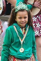 St Patricks Day parade High Street Digbeth.Young Dance school girl on the parade