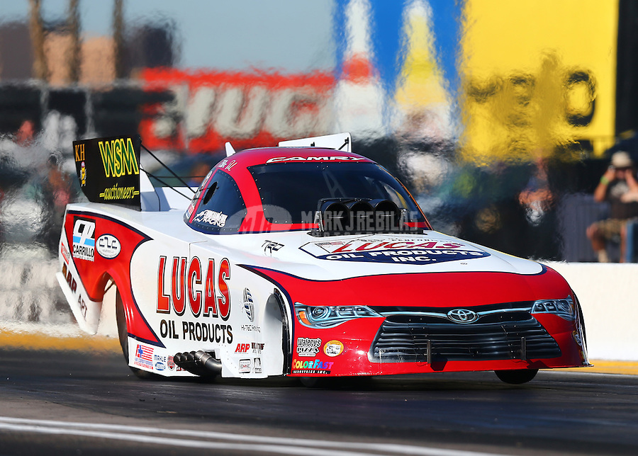 Feb 24, 2017; Chandler, AZ, USA; NHRA funny car driver Del Worsham during qualifying for the Arizona Nationals at Wild Horse Pass Motorsports Park. Mandatory Credit: Mark J. Rebilas-USA TODAY Sports