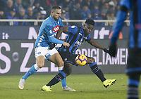 Nikola Maksimovic of Napoli Duvan Zapata of Atalanta  during the  italian serie a soccer match,Atalanta - SSC Napoli at  the Atleti azure d'italia   stadium in Bergamo Italy , December 03, 2018