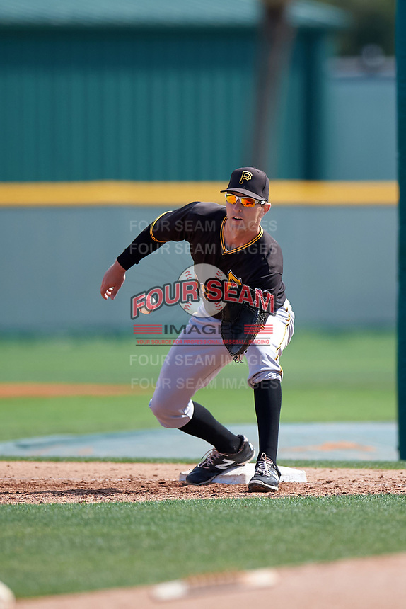 Pittsburgh Pirates Jordan George (99) during a minor league Spring Training intrasquad game on April 3, 2016 at Pirate City in Bradenton, Florida.  (Mike Janes/Four Seam Images)