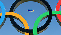 24.07.2012. London England. An airship flies Over The Olympic Park in London The 2012 London Olympic Games begins ON July 27