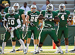 Baylor Bears center Philip Blake (74) and Baylor Bears quarterback Robert Griffin III (10) in action during the game between the Rice Owls and the Baylor Bears at the Floyd Casey Stadium in Waco, Texas. Baylor defeats Rice 56 to 31..