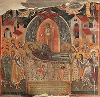 Fresco of the Dormition of the Virgin and her Assumption, with Christ, God and a host of angels ready to receive her in heaven, 1578, by Nikolla Onufri, son of Onufri, in the 13th century Church of St Mary of Blachernae or Kisha e Shen Meri Vllahernes inside Berat Castle or Kalaja e Beratit, in Berat, South-Central Albania, capital of the District of Berat and the County of Berat. Picture by Manuel Cohen