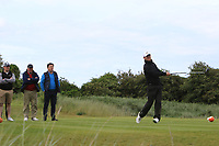Marc Boucher (Carton House) on the 18th tee during Round 4 of The East of Ireland Amateur Open Championship in Co. Louth Golf Club, Baltray on Monday 3rd June 2019.<br /> <br /> Picture:  Thos Caffrey / www.golffile.ie<br /> <br /> All photos usage must carry mandatory copyright credit (© Golffile | Thos Caffrey)