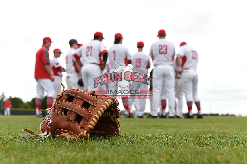 Rawlings glove on the field in front of an Illinois State Redbirds team huddle before a game against the Bucknell Bison on March 8, 2015 at North Charlotte Regional Park in Port Charlotte, Florida.  Bucknell defeated Illinois State 13-8.  (Mike Janes Photography)
