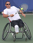 Lee Carter of Winnipeg in wheelchair tennis action at the Paralympic Games in Beijing, Monday, Sept., 8, 2008.   Photo by Mike Ridewood/CPC