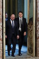 Martin Schulz e Matteo Renzi<br /> Roma 12-02-2016 Palazzo Chigi, il Premier italiano incontra il Presidente del Parlamento Europeo.<br /> Rome 12th February 2016. The Italian Premier meets the President of the European Parliament.<br /> Photo Samantha Zucchi Insidefoto